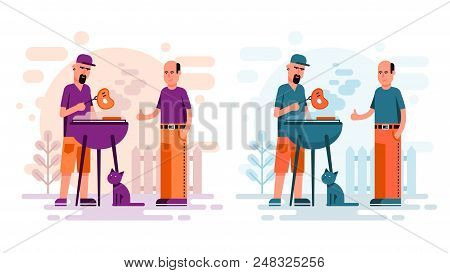 Two Men Cooking Barbeque Steaks In The Yard. Flat Cartoon Style Bbq.