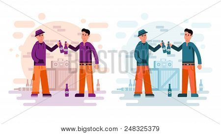 Two City Guys Drinking Beer From Bottles Listening To A Boombox On The Street. Flat Cartoon Style