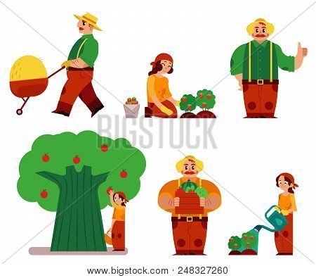 Flat Farmer Men, Women In Professional Uniform - Rubber Boots, Overalls Set. Agricultural Occupation