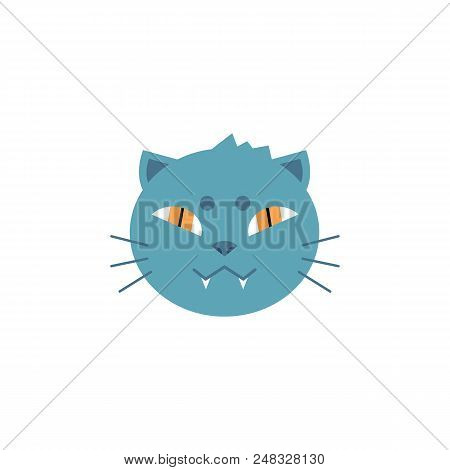 Domestic Cat Head With Gray Fur And Toothy Smile In Flat Style Isolated On White Background. House A