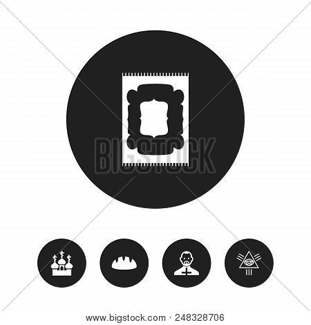 Set Of 5 Editable Religion Icons. Includes Symbols Such As Bread, Eye Of Providence, Reverend And Mo