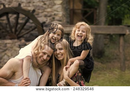 Family Day. Children And Parents Visit Old Stone Mill. Summer Vacation, Adventure, Discovery, Wander