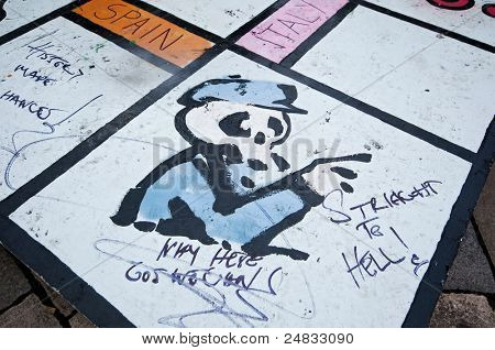 LONDON, UK -OCTOBER 31: Banksy's monopoly game reinvented to match Political and Economical happenings in the world on October 31, 2011 in London.