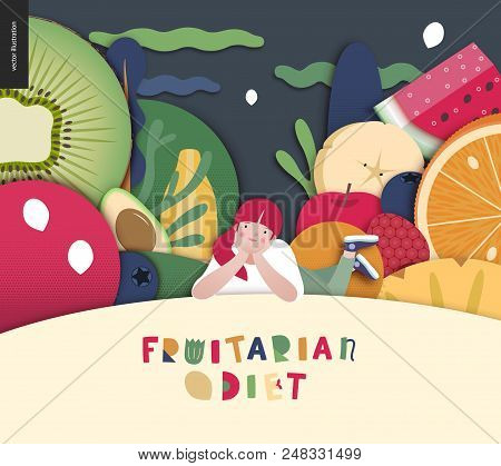 Fruitarian Food Diet- Flat Vector Concept Illustration, Composition Of A Healthy Fruit Diet, Young G