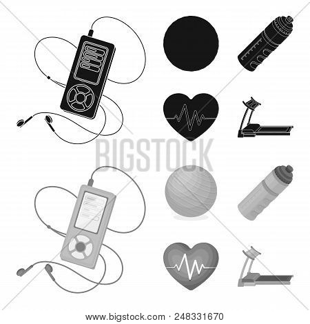 Player, A Bottle Of Water And Other Equipment For Training.gym And Workout Set Collection Icons In B