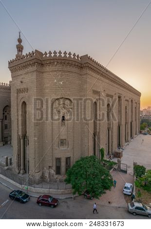 Cairo, Egypt - July 3 2018: External View Of Al Rifai Historical Mosque. View From From Al Rifai Str