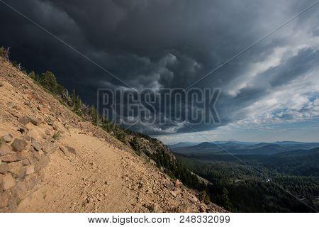 Storm Clouds Gather Around Garfield Peak In Oregon Wilderness
