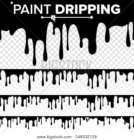 Paint Dripping Liquid Vector. Horizontal Seamless. Abstract Ink, Paint Flows. Grunge Design. Isolate