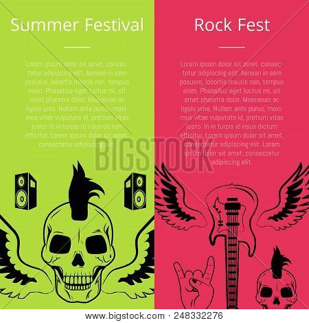 Summer festival rock fest set of posters. Vector illustration of skull with mohawk haircut, small speakers, electric guitar, wings and sign of horns poster