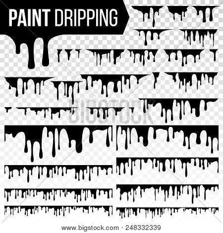 Paint Dripping Liquid Set Vector. Abstract Ink, Paint Splash. Various Blood Splatters. Chocolate, Sy