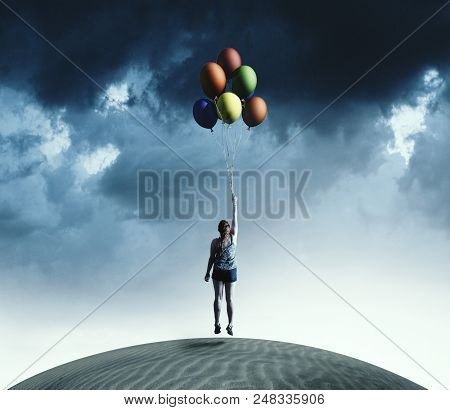 Woman Taking Off The Ground Holding Colorful Balloons.