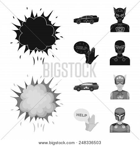 Explosion, Fire, Smoke And Other  Icon In Black, Monochrome Style.superman, Superforce, Cry, Icons I