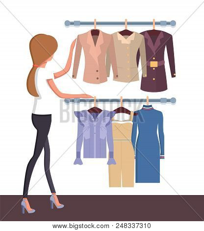 Pretty Woman In Vogue Boutique, Colorful Poster, Customer Looking On Vogue Collection With Dress, Su