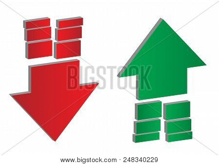 Up And Down Arrows. Upward, Downward Arrows With Dividing Ends In Green And Red Isolated On White Ba