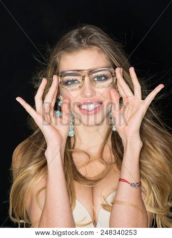 Look, Happy Woman In Glasses With Funky Look. Look, Woman Smile And Look Through Lens.