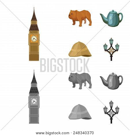 Breed Dog, Teapot, Brewer .england Country Set Collection Icons In Cartoon, Monochrome Style Vector