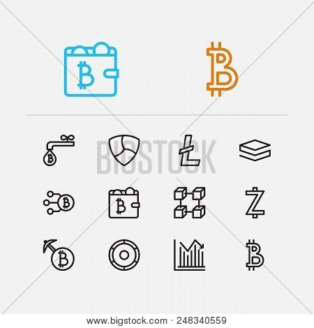Cryptocurrency Icons Set. Coin Faucet And Cryptocurrency Icons With Wallet, Zcash And Altcoin. Set O