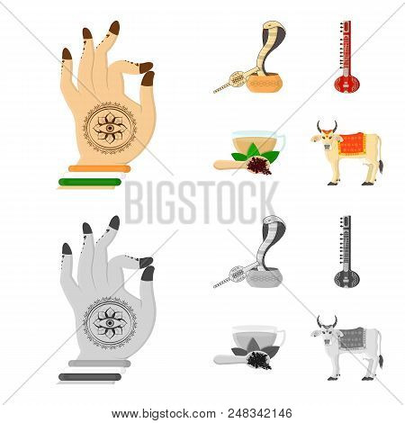 Country India Cartoon, Monochrome Icons In Set Collection For Design.india And Landmark Vector Symbo