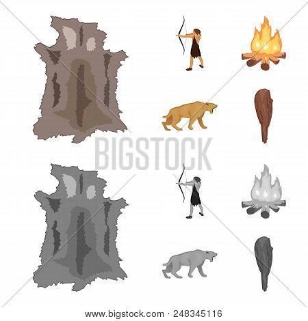 Man, Hunter, Onion, Bonfire .stone Age Set Collection Icons In Cartoon, Monochrome Style Vector Symb