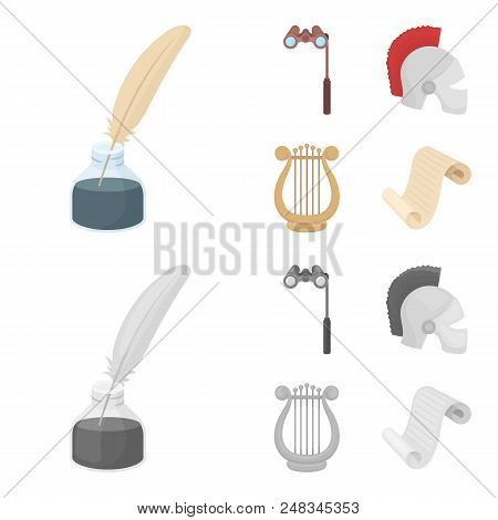 Theatrical binoculars, a helmet, a harp and a paper scroll. The theater set collection icons in cartoon, monochrome style vector symbol stock illustration . poster