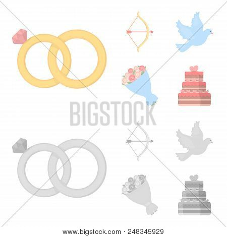 Arrow Cupid, Dove, Bouquet Of Flowers, Wedding Cake. Wedding Set Collection Icons In Cartoon, Monoch