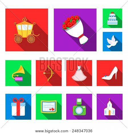 Wedding And Attributes Flat Icons In Set Collection For Design.newlyweds And Accessories Vector Symb
