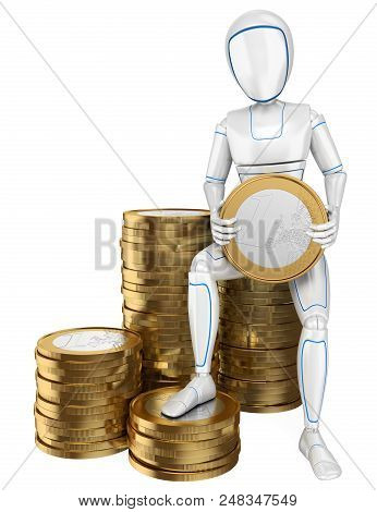 3d Futuristic Android Illustration. Humanoid Robot Sitting On A Pile Of Euro Coins. Isolated White B