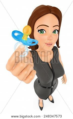3d Business People Illustration. Businesswoman With A Pacifier. Work Life Balance. Isolated White Ba
