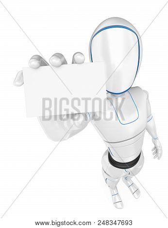 3d Futuristic Android Illustration. Humanoid Robot Standing With A Blank Card. Isolated White Backgr