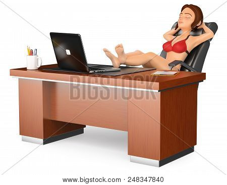 3d Business People Illustration. Woman In Bikini Sitting And Relaxed In His Office. Isolated White B