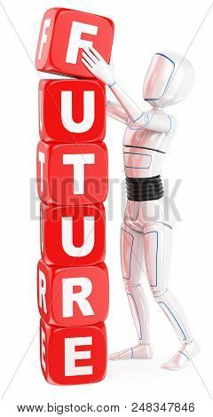 3d Futuristic Android Illustration. Humanoid Robot Future Word Concept. Isolated White Background.
