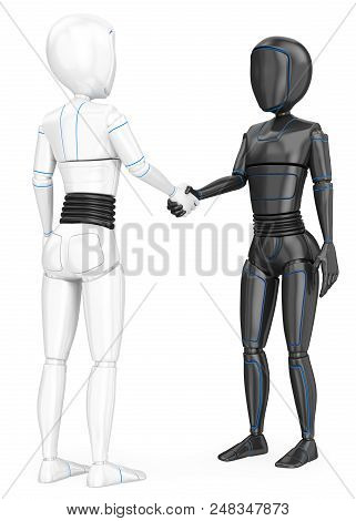 3d Futuristic Android Illustration. Humanoid Robot Shaking Hands With Another Robot. Isolated White