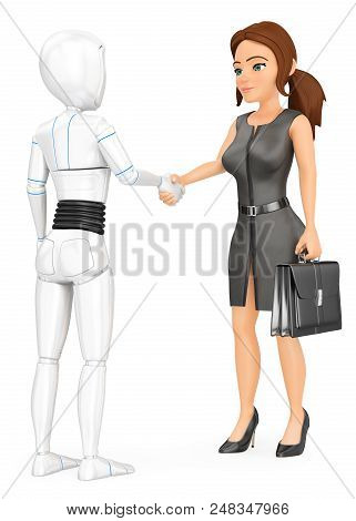 3d Futuristic Android Illustration. Humanoid Robot Shaking Hand With A Business Woman. Isolated Whit
