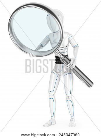 3d Futuristic Android Illustration. Humanoid Robot With A Huge Magnifying Glass. Isolated White Back