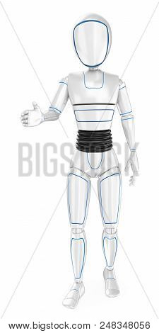 3d Futuristic Android Illustration. Humanoid Robot Welcoming Offering The Hand. Isolated White Backg