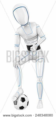 3d Futuristic Android Illustration. Humanoid Robot With A Football Ball And Thumb Up. Isolated White