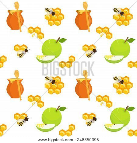 Seamless Pattern With Honey Pots And Honey Dippers, Apples And Apple Slices, Honeycombs And Bees, Ho