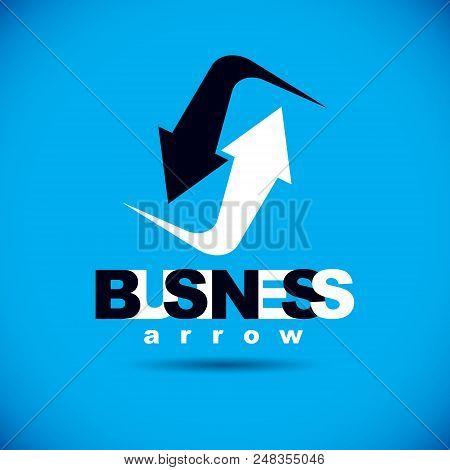 Vector Upward Trend Of Business Development. Corporate Abstract Logo, Boost Up Arrow. Company Increa