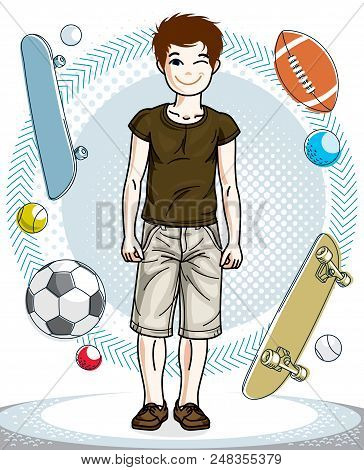 Cute Happy Young Teen Boy Posing Wearing Fashionable Casual Clothes. Vector Pretty Nice Human Illust