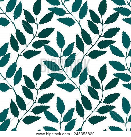 Monochrome Turquoise Green Rowanberry Ashberry Leaf Branch Silhouette Botanical Illustration Seamles