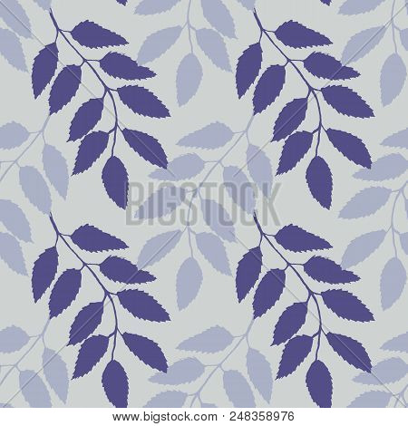 Monochrome Pink Lilac Rowanberry Ashberry Leaf Branch Silhouette Botanical Illustration Seamless Pat