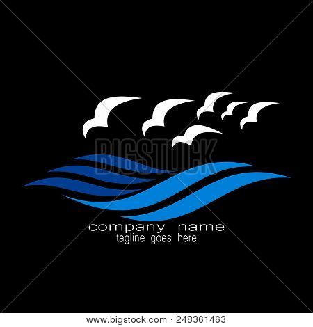 Creative Sample Design Ocean Waves Bird Logo Design