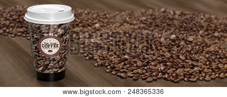 A to go coffee cup stands on a wood table surrounded by a pile of coffee beans (3d rendering)