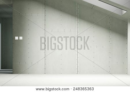 Drywall in the attic of a house as a renovation, new construction and building concept (3d rendering)