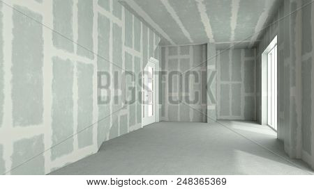 Flattened drywall walls in a room of a house (3d rendering)