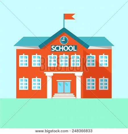 Icon School. School Building. Simple Vector Illustration