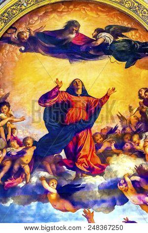 Venice, Italy - September 21, 2017 Titian Assumption Virgin Mary Rise To Heaven  Painting Santa Mari