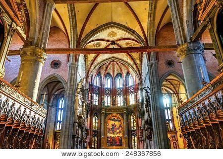 Venice, Italy - September 2, 2017 Titian Assumption Virgin Mary Rise To Heaven  Painting Santa Maria
