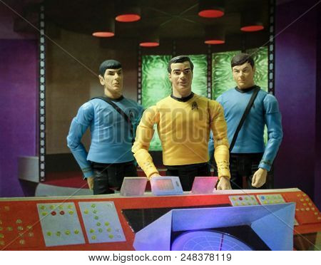 JUL 5 2018: Recreation of a scene from the 1960s television science fiction show Star Trek, where Captain Kirk Doctor McCoy & Mr. Spock beam down to the planet surface - Art Asylum action figures
