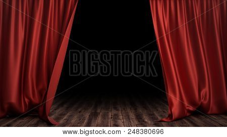3d Illustration Luxury Red Silk Velvet Curtains Decoration Design, Ideas. Red Stage Curtain For Thea
